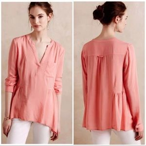 Anthropologie Maeve Coral Sheer Peasant Blouse